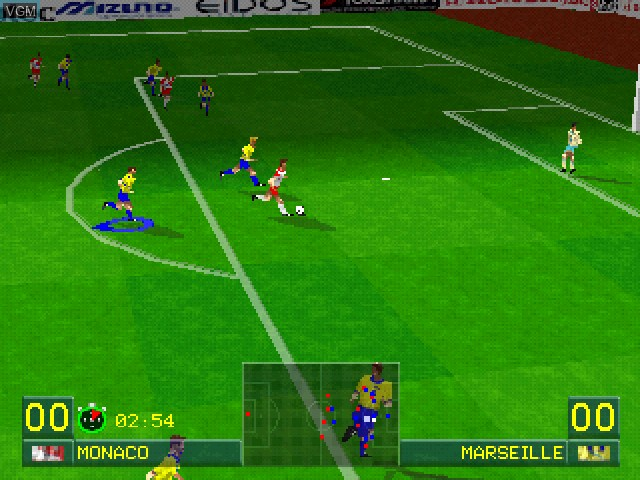In-game screen of the game World League Soccer '98 on Sony Playstation