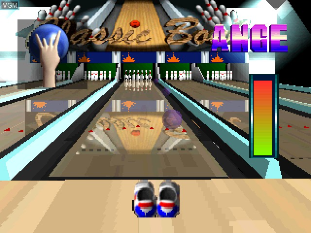 In-game screen of the game Waku Waku Bowling on Sony Playstation