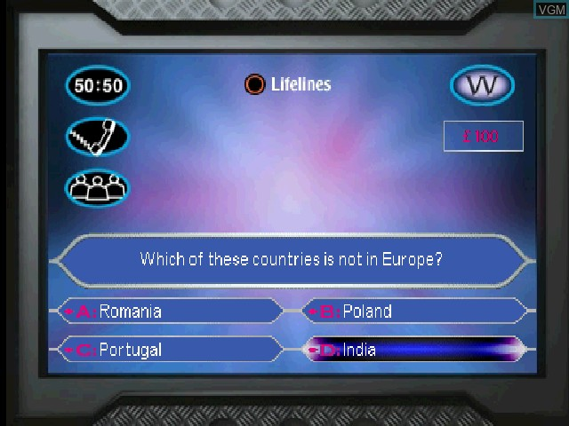 In-game screen of the game Who Wants to Be a Millionaire - Junior on Sony Playstation