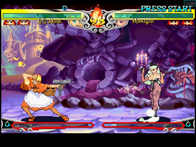 In-game screen of the game Darkstalkers 3 on Sony Playstation