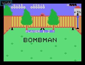 Title screen of the game Bombman on Tomy Pyuuta / Tutor