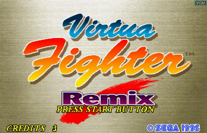 Title screen of the game Virtua Fighter Remix on ST-V