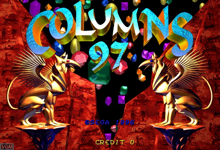 Title screen of the game Columns 97 on ST-V
