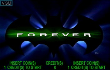 Title screen of the game Batman Forever on ST-V