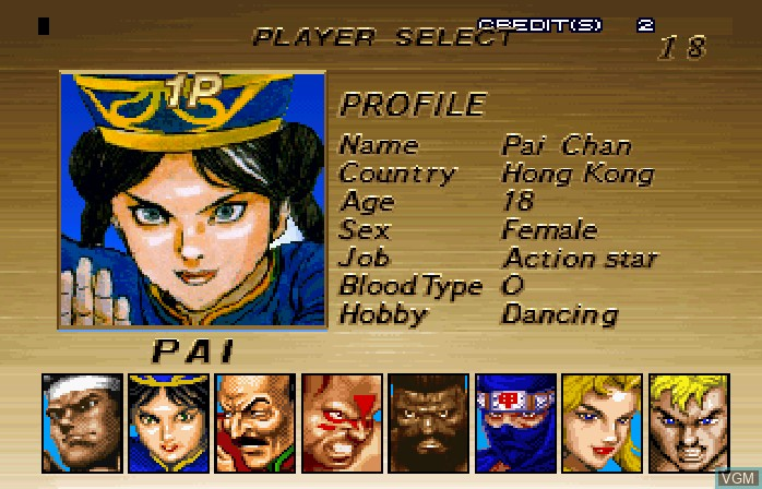 Menu screen of the game Virtua Fighter Remix on ST-V