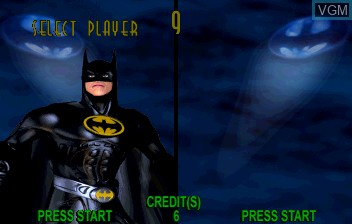 Menu screen of the game Batman Forever on ST-V