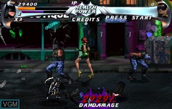 In-game screen of the game Batman Forever on ST-V
