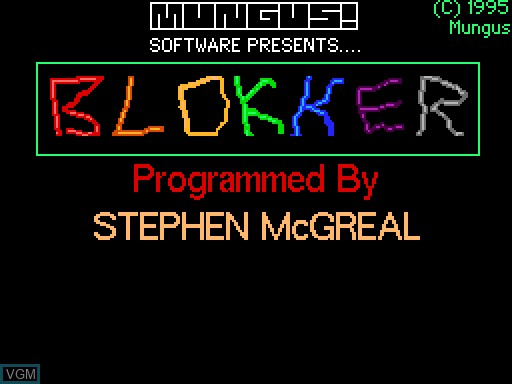 Title screen of the game Blokker on MGT Sam Coupé