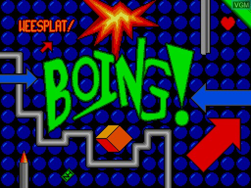 Title screen of the game Boing! on MGT Sam Coupé