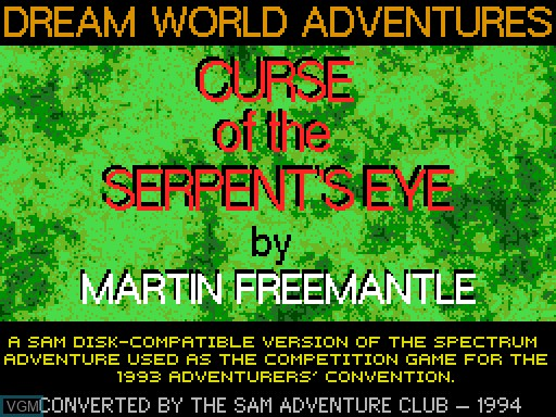 Title screen of the game Curse of the Serpent's Eye on MGT Sam Coupé