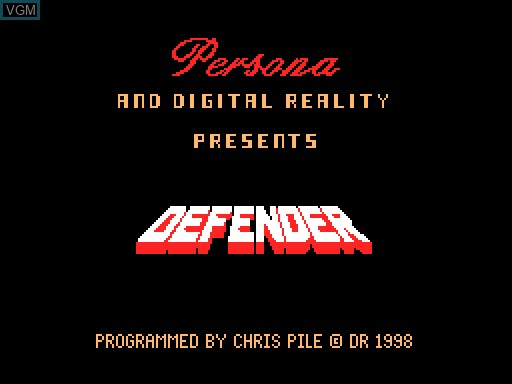 Title screen of the game Defender on MGT Sam Coupé