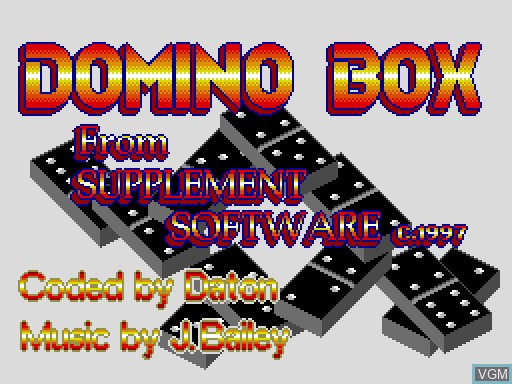 Title screen of the game Domino Box on MGT Sam Coupé