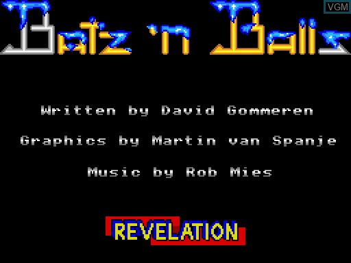 Title screen of the game Batz'n'Balls on MGT Sam Coupé