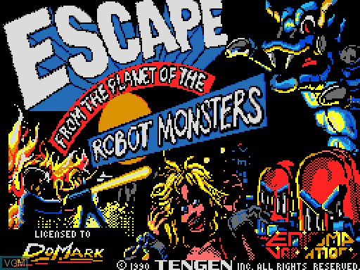 Title screen of the game Escape from the Planet of the Robot Monsters on MGT Sam Coupé