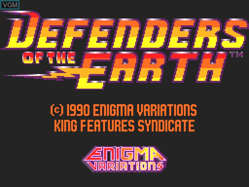 Title screen of the game Defenders of the Earth on MGT Sam Coupé