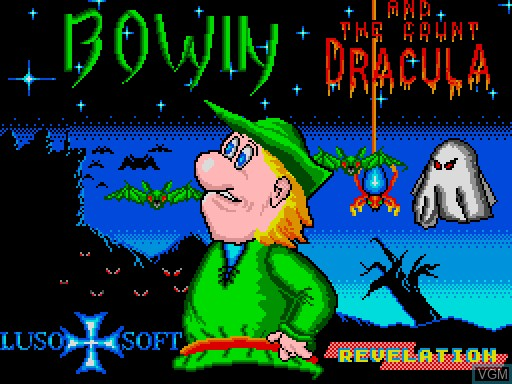 Title screen of the game Bowin and the Count Dracula on MGT Sam Coupé