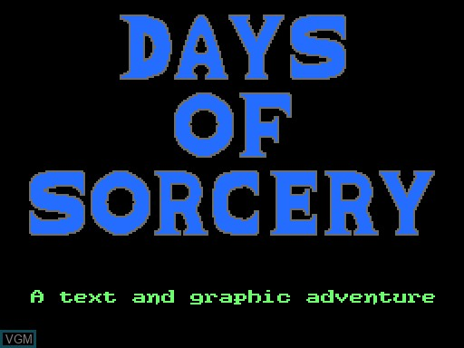 Title screen of the game Days of Sorcery on MGT Sam Coupé