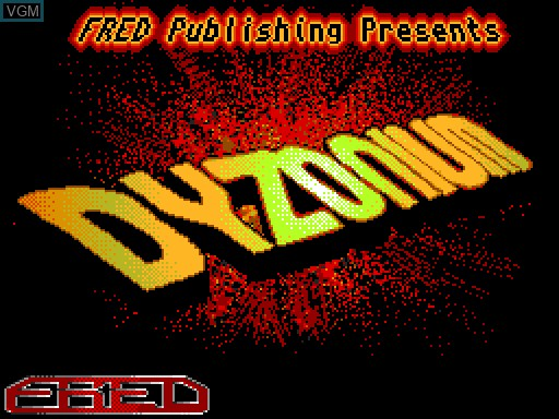 Title screen of the game Dyzonium on MGT Sam Coupé