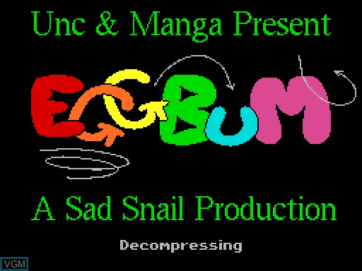 Title screen of the game EGGBuM on MGT Sam Coupé