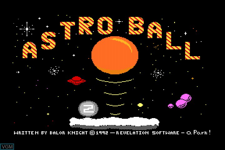 Title screen of the game Astroball on MGT Sam Coupé