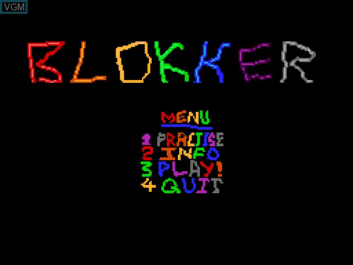 Menu screen of the game Blokker on MGT Sam Coupé