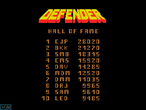 Menu screen of the game Defender on MGT Sam Coupé