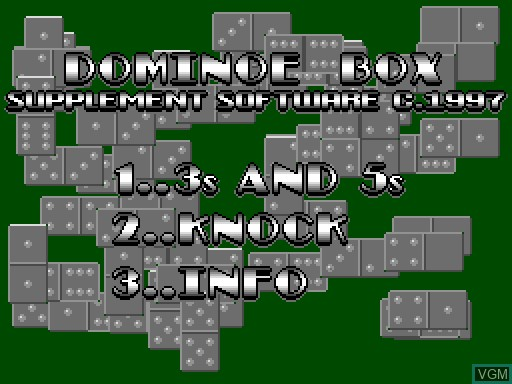 Menu screen of the game Domino Box on MGT Sam Coupé