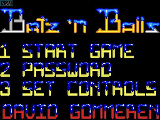 Menu screen of the game Batz'n'Balls on MGT Sam Coupé
