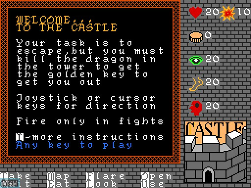 Menu screen of the game Castle on MGT Sam Coupé