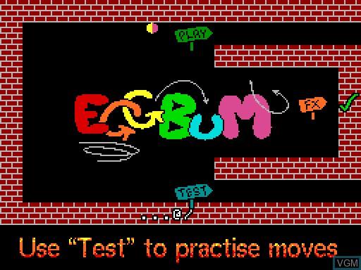 Menu screen of the game EGGBuM on MGT Sam Coupé
