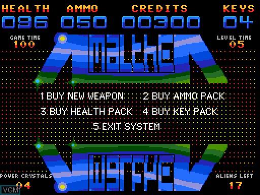 Menu screen of the game Amalthea on MGT Sam Coupé
