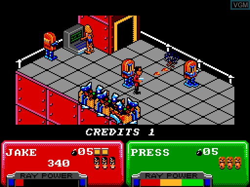In-game screen of the game Escape from the Planet of the Robot Monsters on MGT Sam Coupé