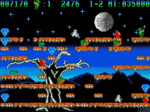 In-game screen of the game Bowin and the Count Dracula on MGT Sam Coupé