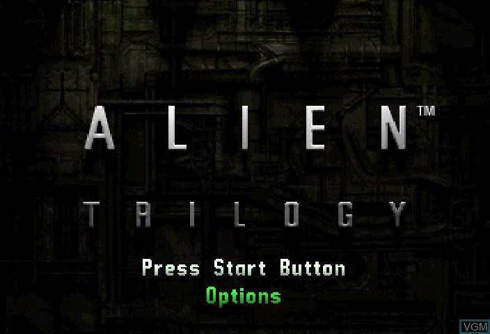 Title screen of the game Alien Trilogy on Sega Saturn