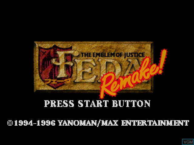 Title screen of the game Feda Remake! The Emblem of Justice on Sega Saturn
