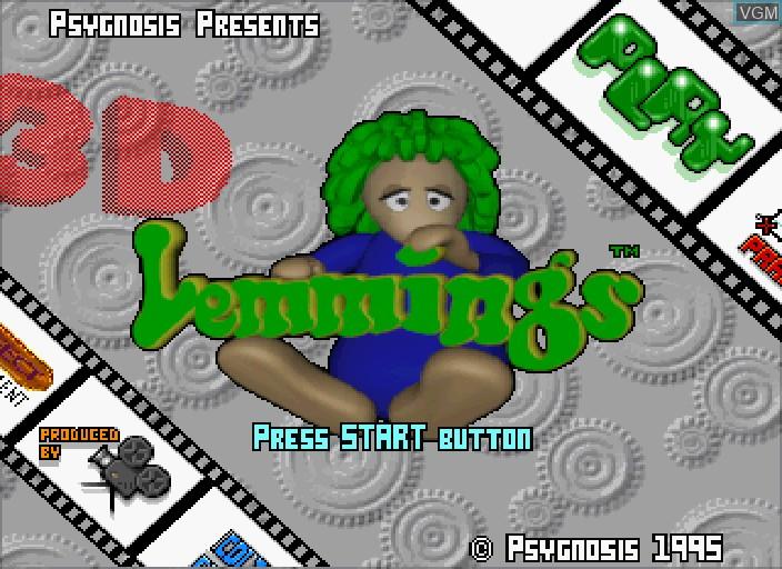 Title screen of the game 3D Lemmings on Sega Saturn