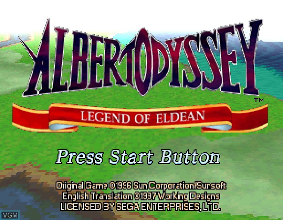 Title screen of the game Albert Odyssey Gaiden - Legend of Eldean on Sega Saturn