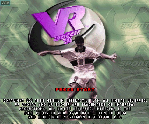 Title screen of the game VR Soccer on Sega Saturn