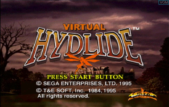 Title screen of the game Virtual Hydlide on Sega Saturn