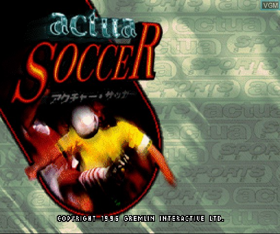 Title screen of the game Actua Soccer on Sega Saturn
