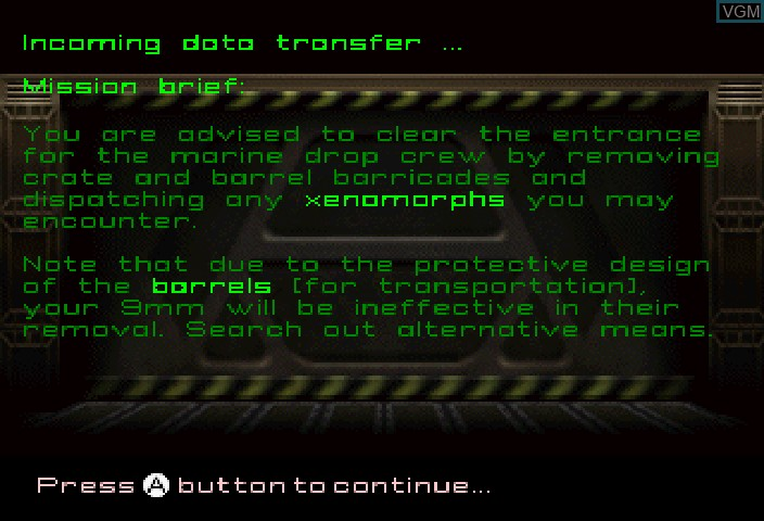Menu screen of the game Alien Trilogy on Sega Saturn