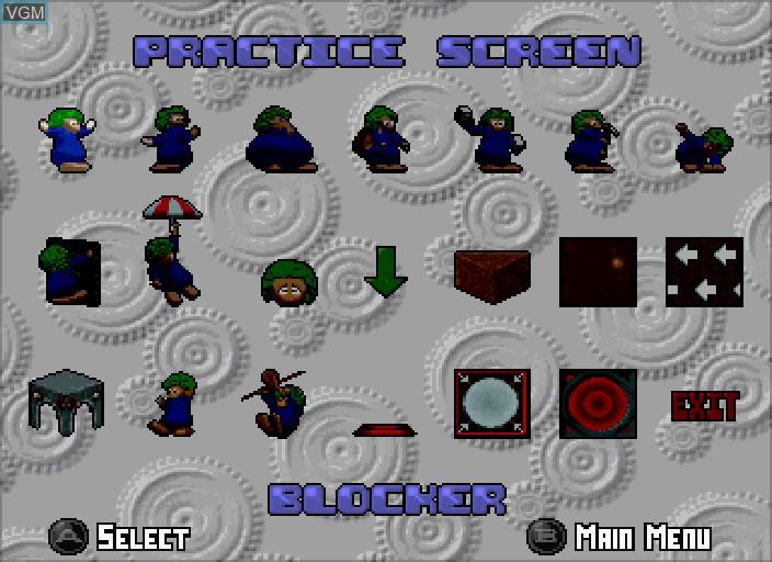 Menu screen of the game 3D Lemmings on Sega Saturn