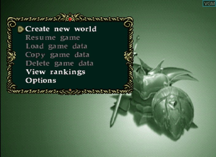 Menu screen of the game Virtual Hydlide on Sega Saturn