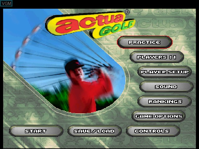 Menu screen of the game Actua Golf on Sega Saturn