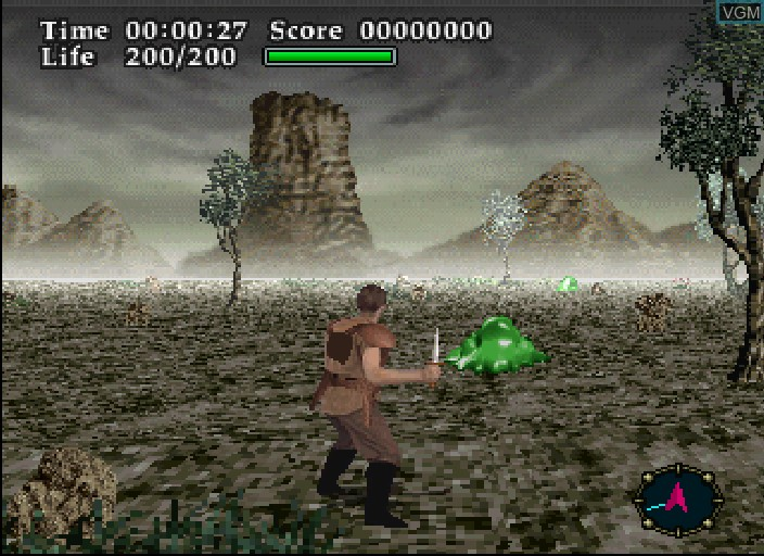 In-game screen of the game Virtual Hydlide on Sega Saturn