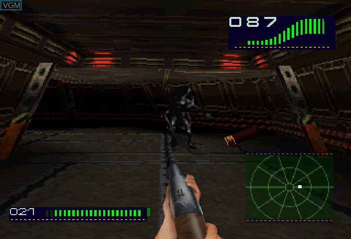 In-game screen of the game Alien Trilogy on Sega Saturn