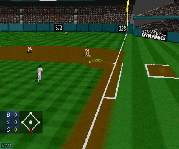 In-game screen of the game 3D Baseball - The Majors on Sega Saturn