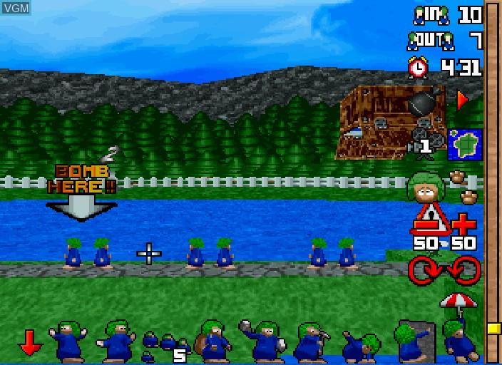 In-game screen of the game 3D Lemmings on Sega Saturn