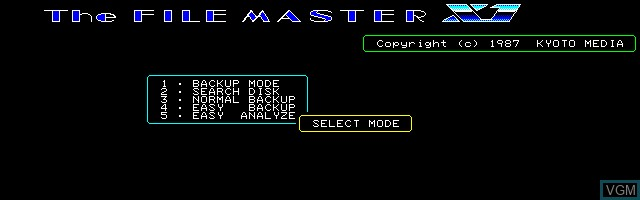 Title screen of the game File Master X1, The on Sharp X1