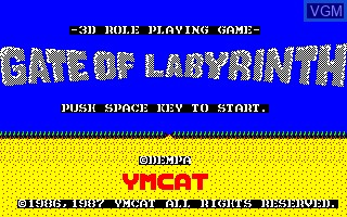 Title screen of the game Gate of Labyrinth on Sharp X1